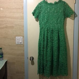 NWT Green lace over dress, front & back identical